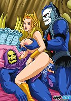 Shera gets double penetration from nemesis Skeletor and Hordak